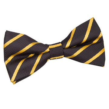 Single Stripe Pre-Tied Bow Tie Black & Gold