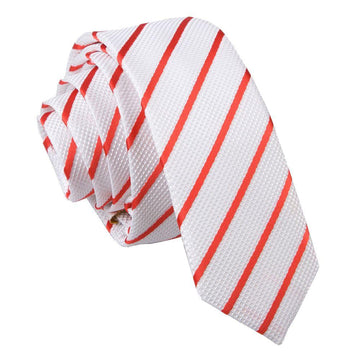 Single Stripe Skinny Tie White & Red