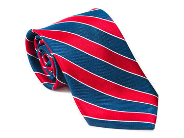 Skull + Bones Striped Necktie