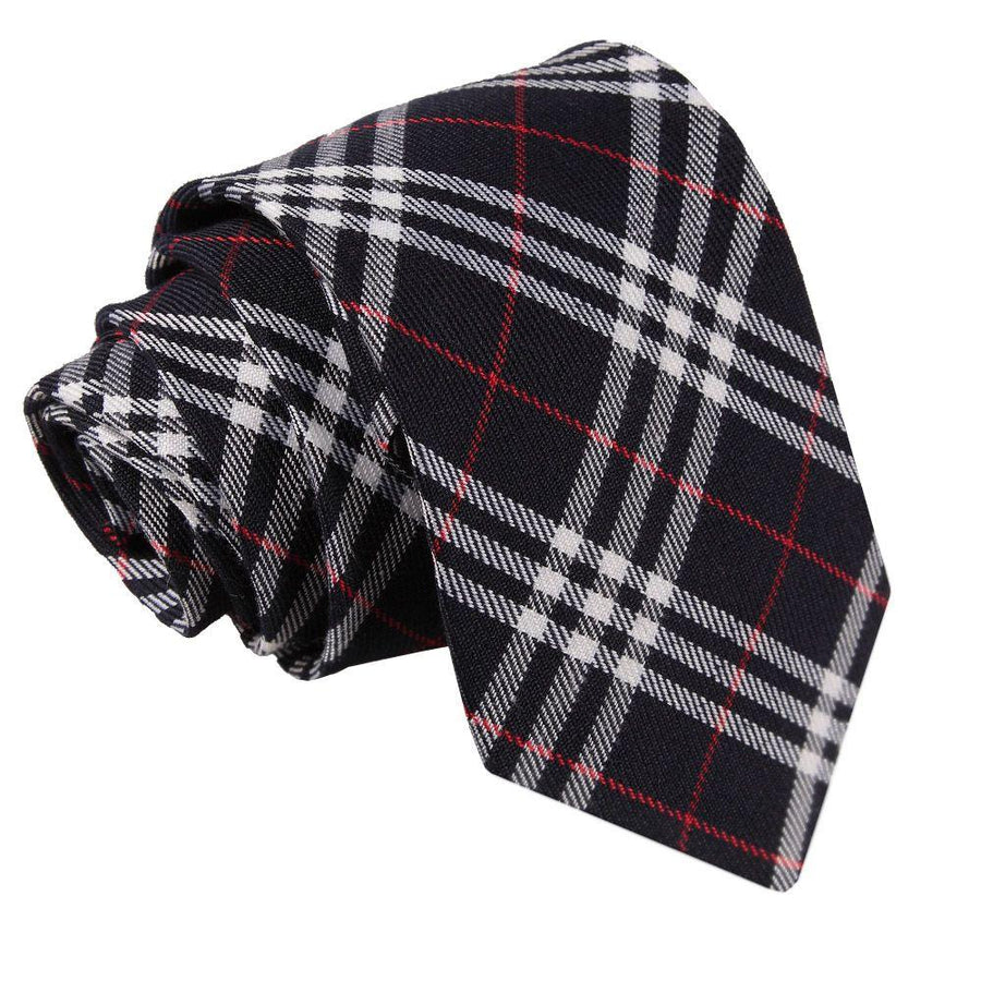 Tartan Classic Tie Navy & White with Red