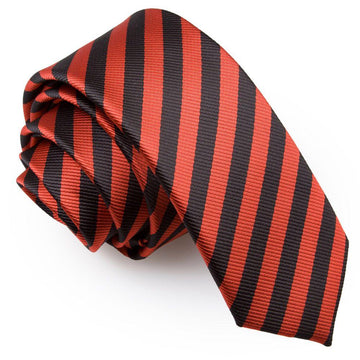 Thin Stripe Skinny Tie Black & Red