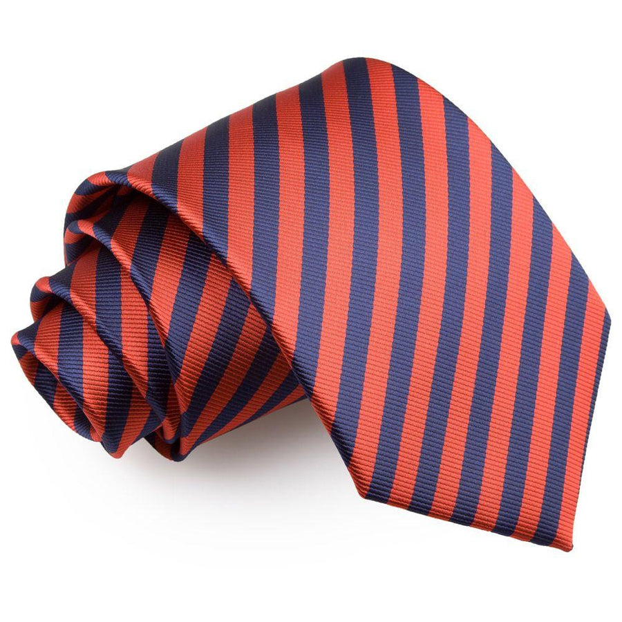 Thin Stripe Classic Tie Navy Blue & Red