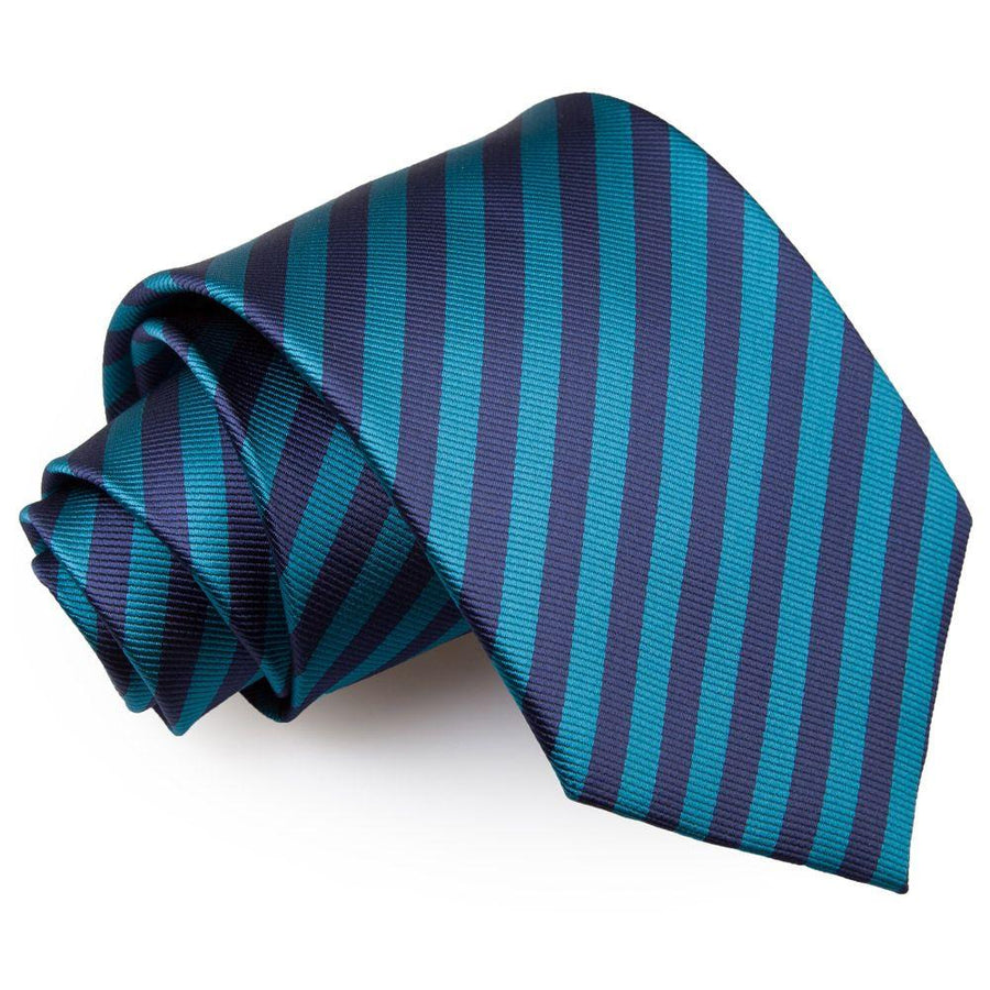 Thin Stripe Classic Tie Navy Blue & Teal