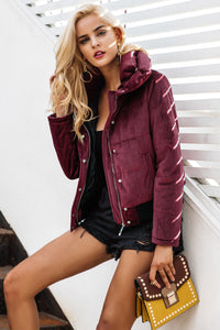 Wine Velvet Padded Jacket