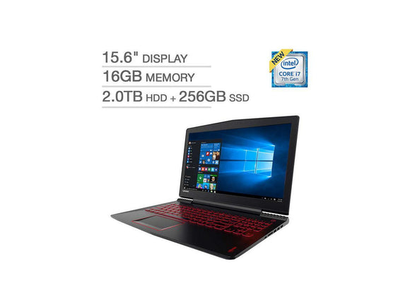 Lenovo Legion Y520 Gaming Laptop - Core i7-7700HQ, 16GB RAM, 2TB HDD + 256GB SSD, 1050Ti 4GB, 15.6