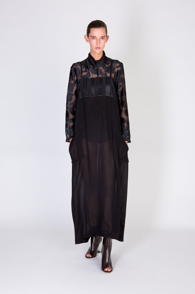 ROXANNE DRESS - BLACK PIQUE