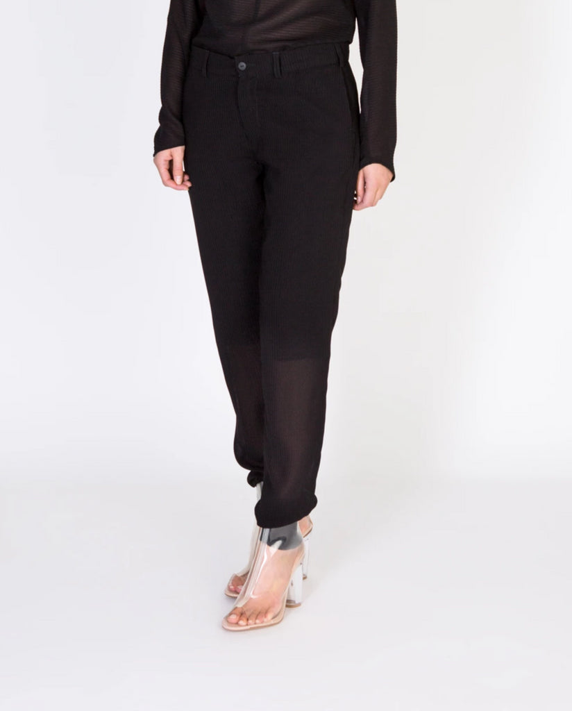 Unfold Trousers - Black Piqué