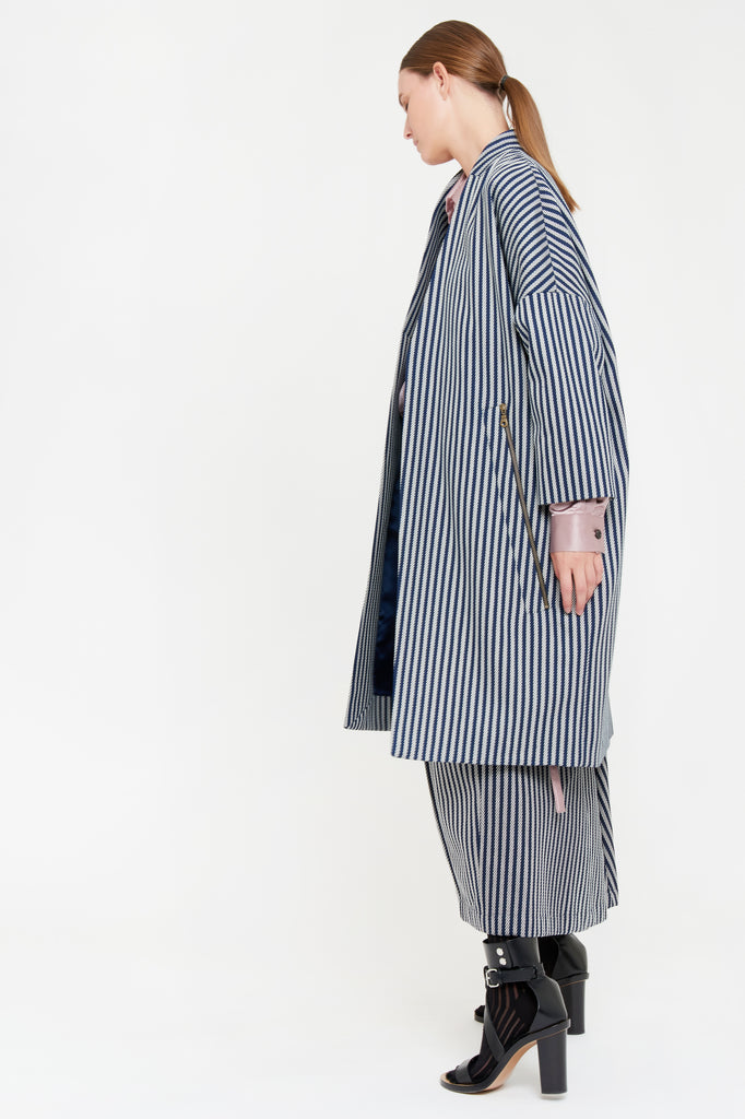 TINA COAT - BLUE STRIPE
