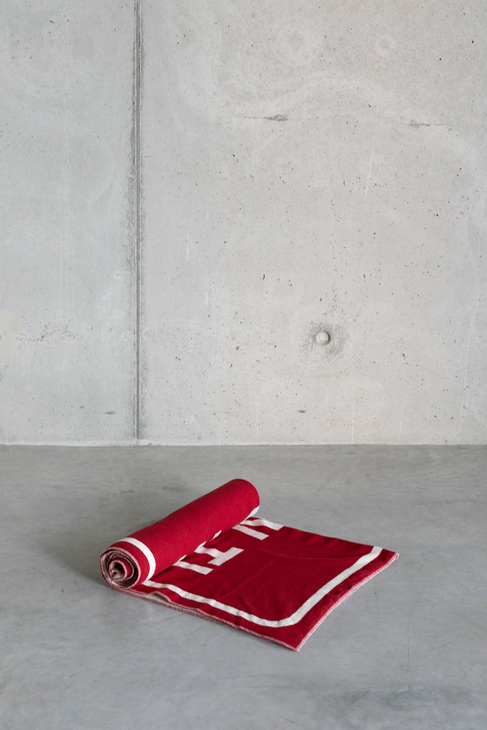 Limited Edition Wool Blanket - Brick/white