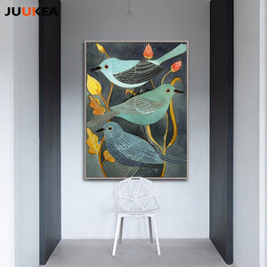 Chinese Blue Birds Painting