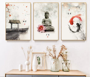 Three Piece Minimalist Chinese Painting