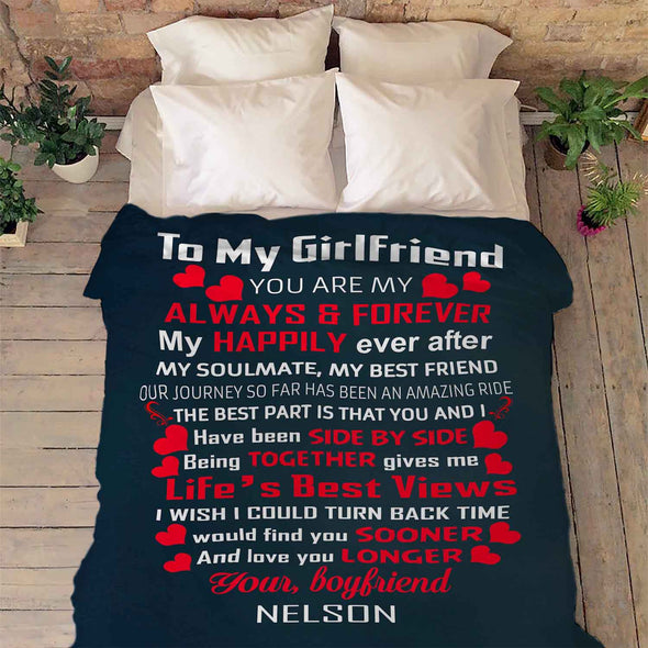 """To My Girlfriend You Are My Always & Forever""- Personalized Blanket"
