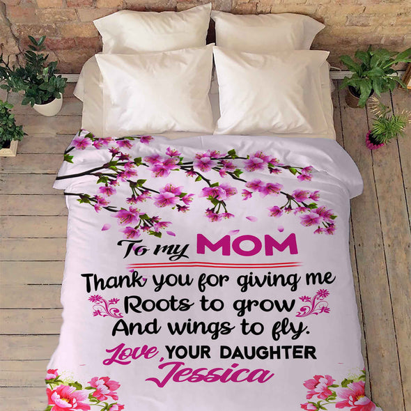 """To My Mom Thank You For Giving Me ""- Personalized Blanket"