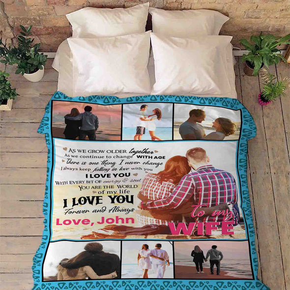 "To My Wife ""You Are World Of My Life"" Personalized Blanket Gift For Wife"