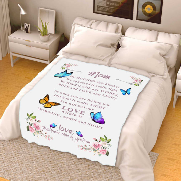 """Mom Love Is Within It Morning, Noon And Night ""- Personalized Blanket"
