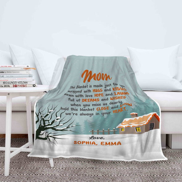 """Mom When You Miss Us Dearly""- Personalized Blanket"