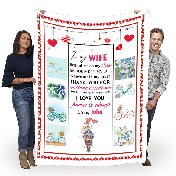 "To My Wife ""Thank You For Walking Beside Me"" Personalized Blanket"