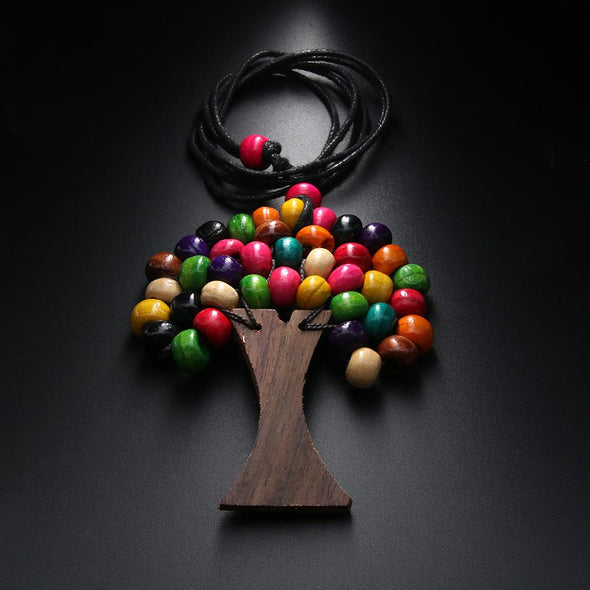Tree Of Life Rainbow Wooden Beads Pendant Necklace