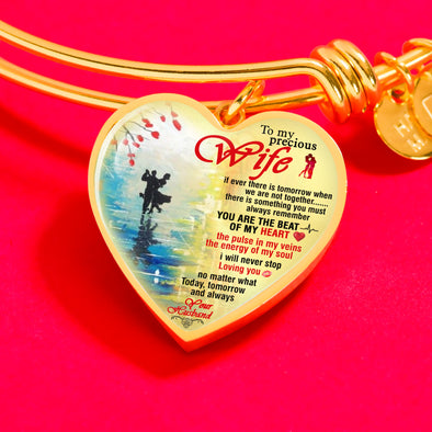To My Precious Wife Heart Shape Bangle  **With Transparency**