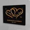 Personalized Two Hearts One Love Canvas