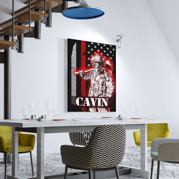 Personalized Firefighter Canvas Art