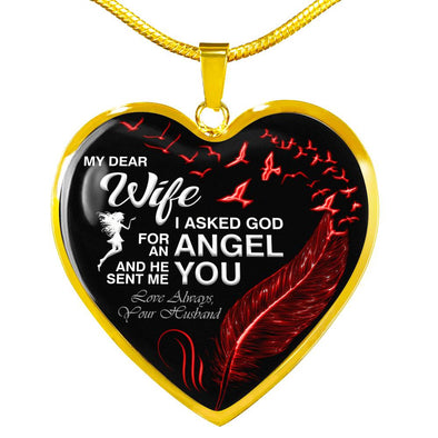 """Dear Wife You Are My Angle"" Valentine Necklace"
