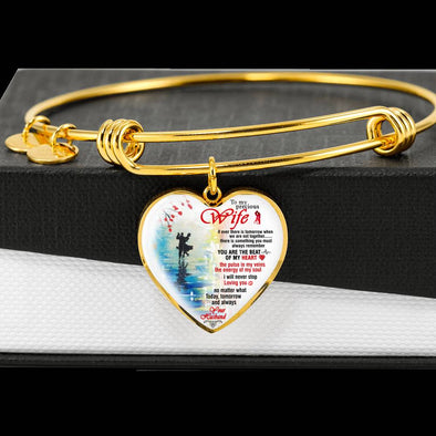 To My Precious Wife Heart Shape Bangle
