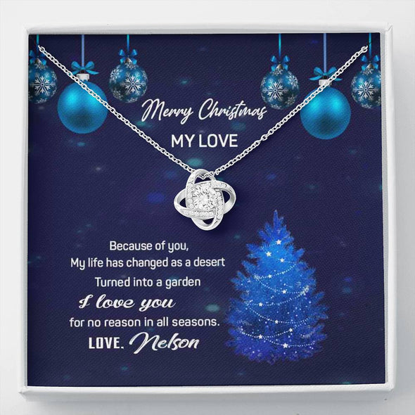 """Merry Christmas My Love"" Customized Knot Pendant"