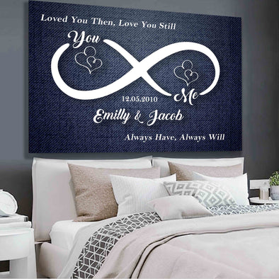 You & Me Infinity Love Sign Personalized Couple Canvas