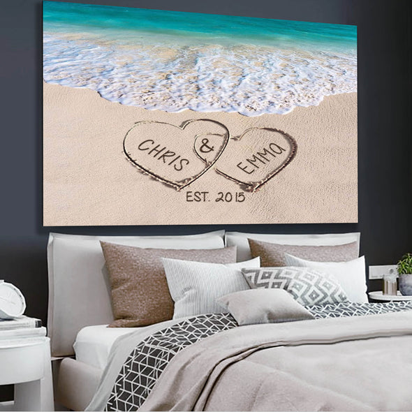 Love on Beach - Personalized Canvas Print Gift