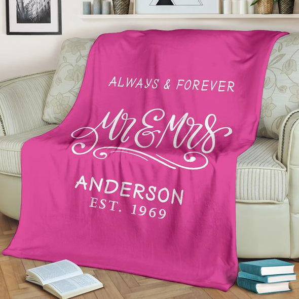 Always & Forever Personalized Couple Blanket With Name And Wedding Year