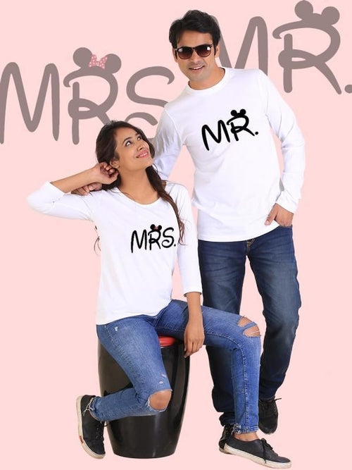 Mr. and Mrs. Couple Full Sleeves White
