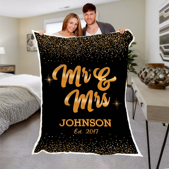 Custom Couple Blanket With Name And Wedding Year