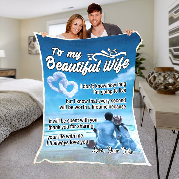 """To My Beautiful Wife"" Personalized Blanket"