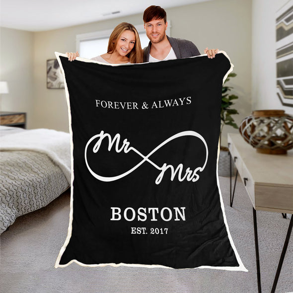 "Love You ""Always & Forever"" Personalized Mr & Mrs Blanket"
