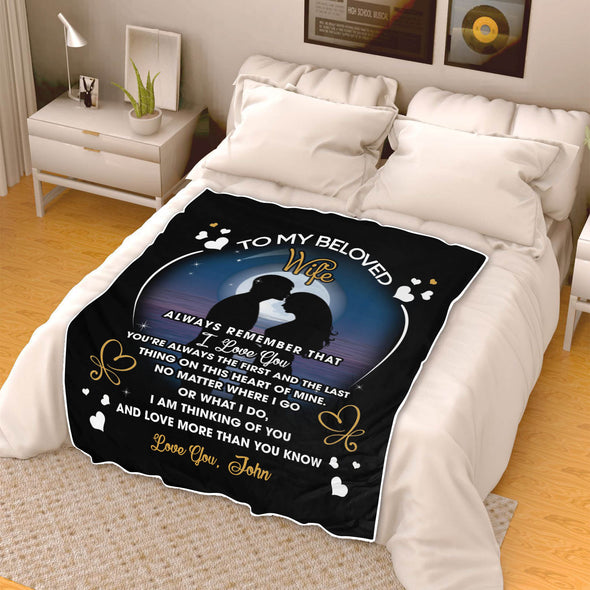 """To My Beloved Wife"" Premium Personalized Blanket"