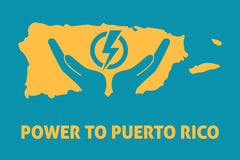 Power To Puerto Rico's Logo featuring the outline of the island and two hands holding a bolt of lightning.