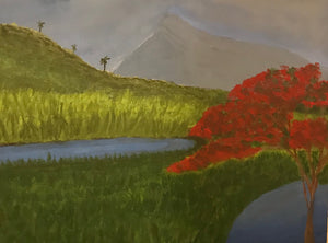 A fiery red flambouyan flowers friviously near a neat body of water at the feet of a grassy knoll. Chance Rovski's brush skills come to life as this donated artwork fuels a charity elimunating fossil fuels.