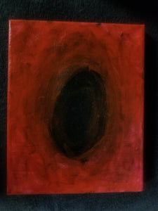 Imagine a vertically rectangular canvas. Andrew Aaron's Remis Iris is a piece showcasing an abyss of red and black as it centers on the infinite chasm of eternity.