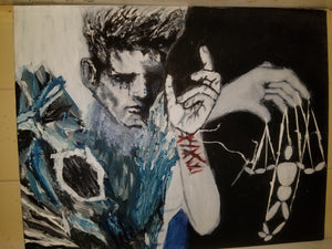 A metacarpal focused painting made with acrylic on canvas containing a hand manipulating a marionette, a self inflicted wrist on a different hand presumably belonging to a sullen face with a lower left corner filled by ice crystals.