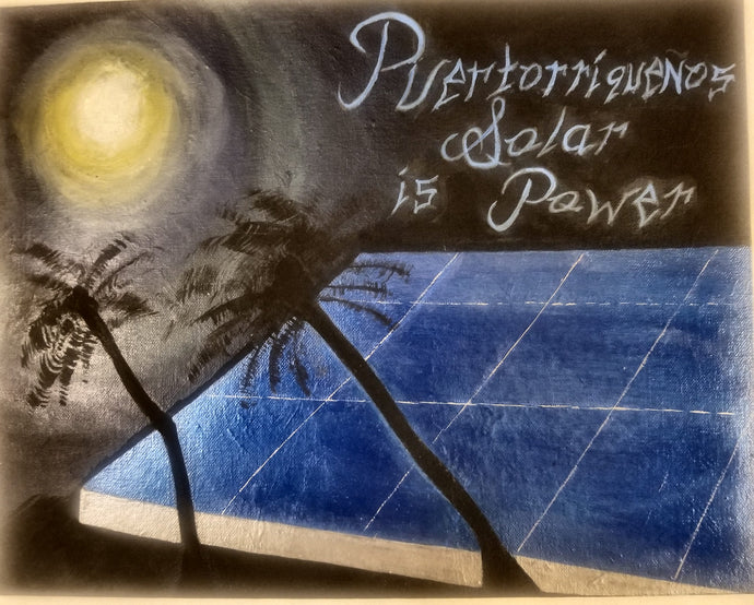An acrylic painting with a night sky background is illuminated by the moon, which reflects light to a blue solar panel in the middle and silhouetted palm trees in the foreground. Upper right corner reads
