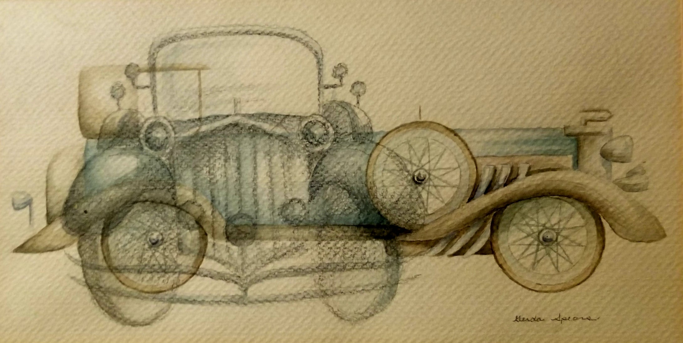 An antique automobile is portrayed in this painting from both a head on view and a side view appearing to almost be two fifferent cars.