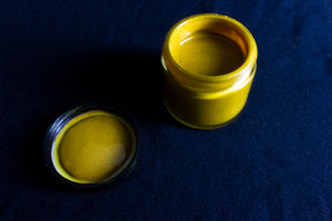 Aerial view of Top Tier Turmeric paint with lid. All photography copyrights 2019 Alex C. Dembicki and used with permission of the copyfight holder.