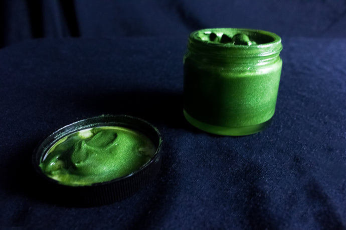 green paint in jar. All photography copyrights 2019 Alex C. Dembicki and used with permission of the copyfight holder.