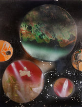 This vertically rectangular spray paint picture portrays planets in a ring- five in total. The largest in the back center resembles Earth in color scheme, while the rest are shades of red and orange.