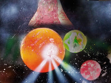 A scene of planetary chaos unfolds in a horizontal rectangle as one of three planets has an eruption on its red surface mimicking a solar flare or volcano. A mysterious object, a red planet, and a green/blue planet look on from the background.