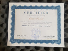 Seen here is the ventral side of the official certificate of authenticity for Trabajo En La Isla De Encanto by Chance Rovski. Issued by curator Victor Allen and notarized by attorney Frank Rosa. The paper sits on a dapper piece of the finest foam.