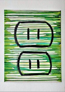 Somebody spilt some odd green paint or dye on the vertical edges of a rectangular canvas. The green coloring runs horizontally across a center image of the most breathtaking and emotionally moving electrical outlet ever drawn in the history of mankind.