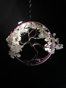 Beautiful pinks and whites encompass this circular piece of jewelry that is a dreamcatcher on a seven inch chain.