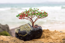 Picture a stark, dark grey colored jagged rock with copper and brown wire twirling upwards and branching out into a red and green bloom of tiny oval bead.  This flamboyan tree sculpture is true art and is a First Edition Original created by the artist Bill Bourdon.